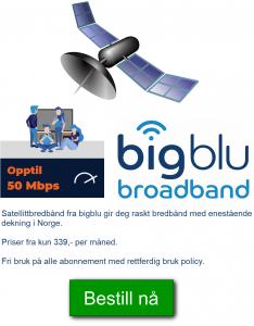 bredbånd fra bigblu på hytta eller hjemme